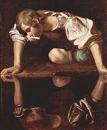 Narkissos atau Narsisus jatuh cinta terhadap dirinya sendiri. Lukisan karya Michelangelo Caravaggio. (Dikutip dari Wikipedia)