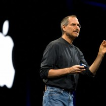 """28 Jun 2004, San Francisco, California, USA --- Apple Computer Inc. Chief Executive Officer Steve Jobs gives a keynote speech during the Apple Developers Conference. Apple announced a new 30-inch flat panel display and previewed the latest version of its Mac OS X operating system """"Tiger."""" --- Image by © Kim Kulish/Corbis"""